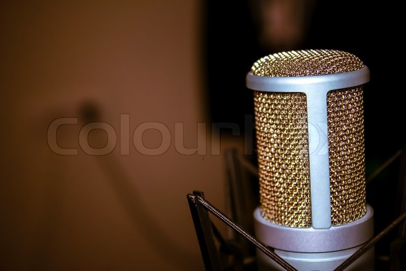 Professional studio microphone in shock mouth at studio, stock photo