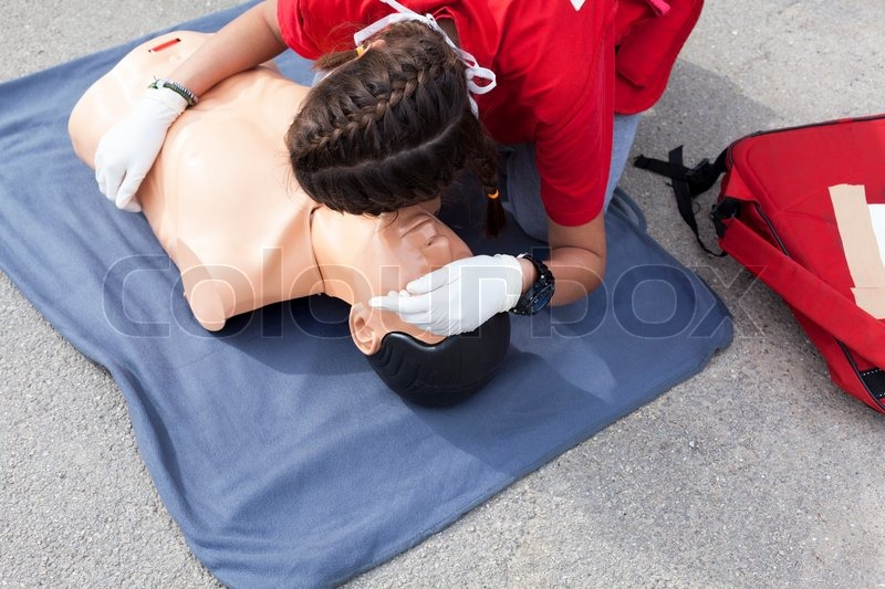 First aid training detail, stock photo