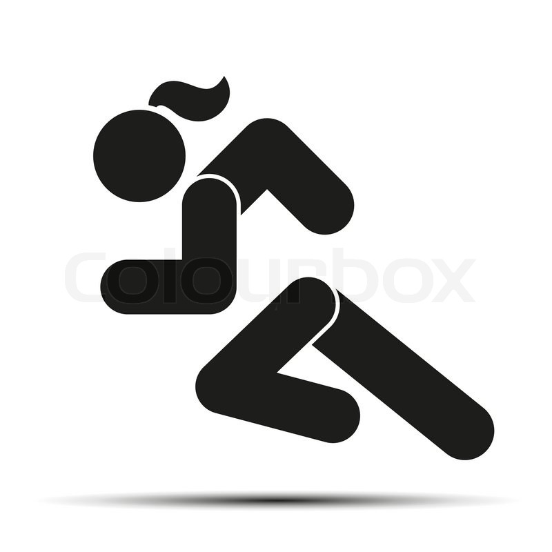 Running Woman Or Girl Simple Symbol Of Run Isolated On A White