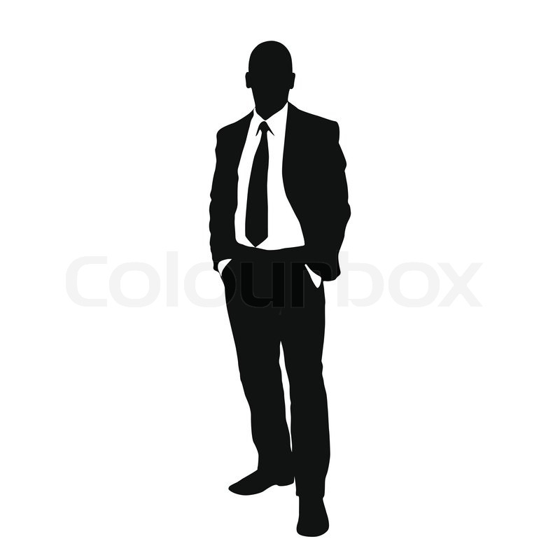 vector business man black silhouette standing full length over white rh colourbox com male silhouette vector free man silhouette vector side