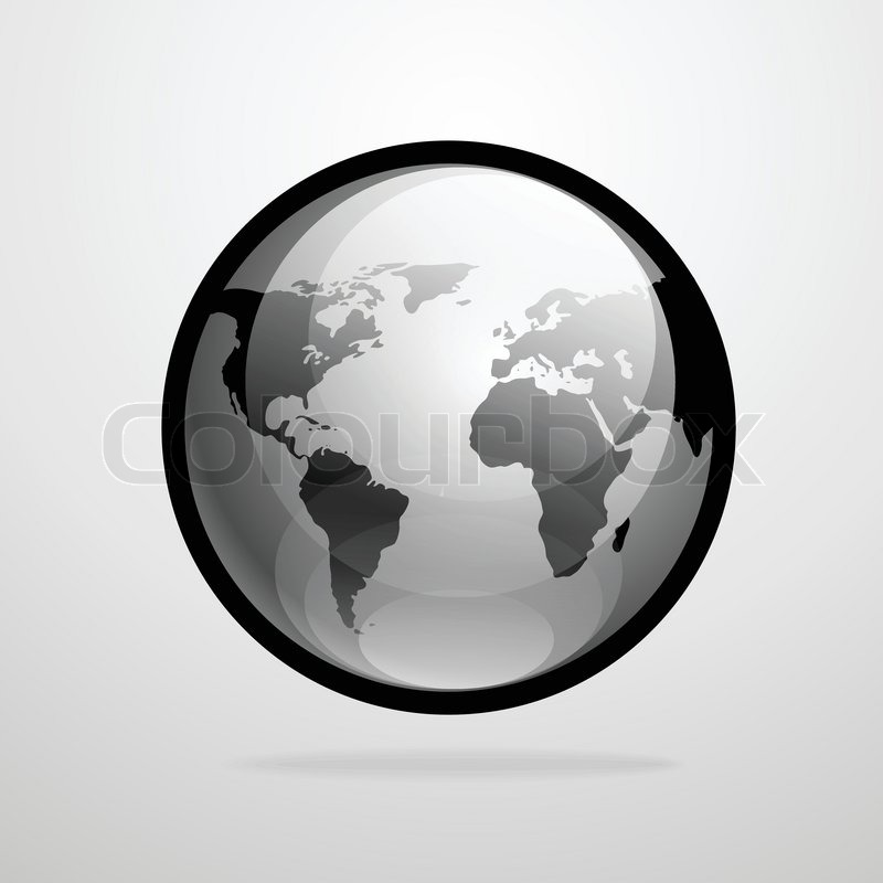 Vector globe icon world map silhouette gray black illustration stock vector of vector globe icon world map silhouette gray black illustration gumiabroncs Image collections