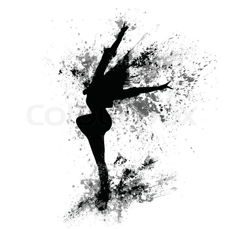 dancing girl black splash paint silhouette isolated white background vector illustration stock vector colourbox
