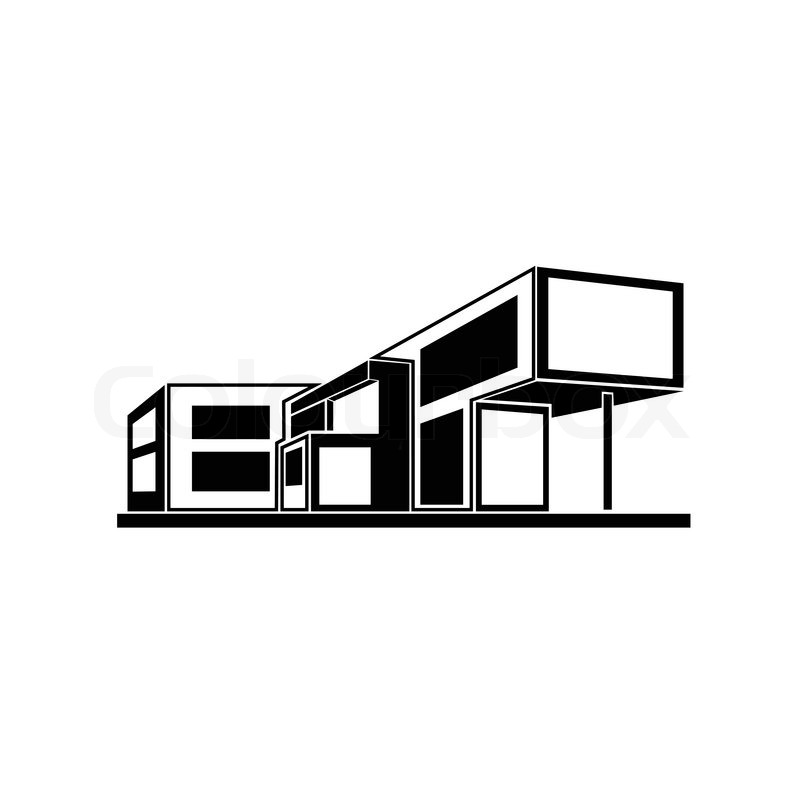 Modern house building real estate concept icon stock for Modern house logo