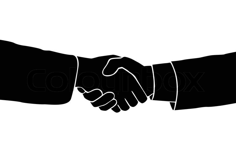 Handshake icon vector sillouette black business hands shake over white background, vector