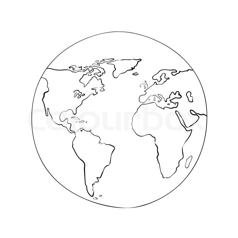 Line Art Earth : Sketch globe world map black on white background vector