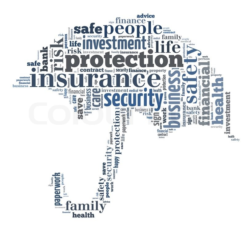insurance info text graphics composed in umbrella shape concept