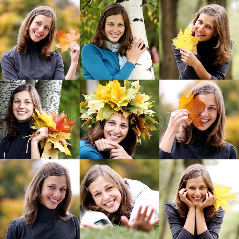 Young beautiful woman with a bouquet of maple leaves, stock photo