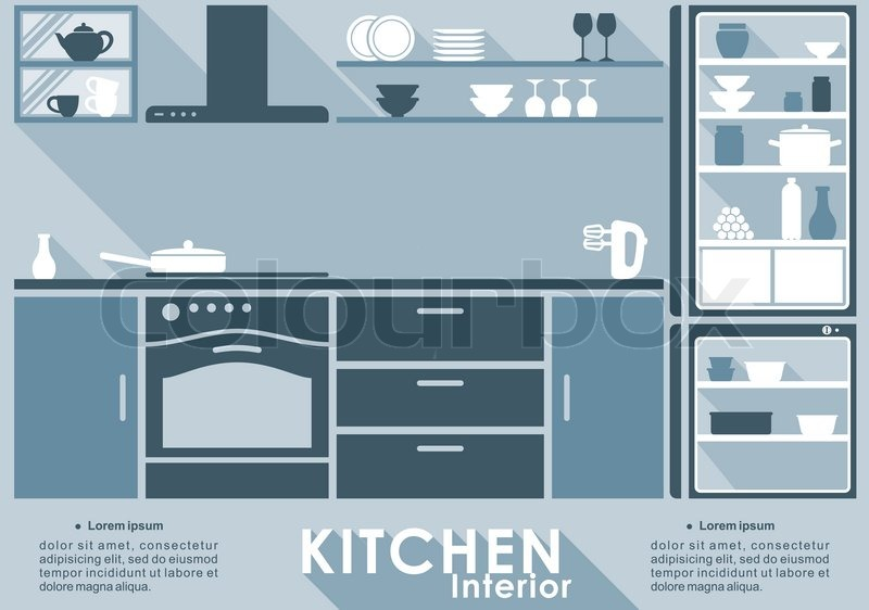 Kitchen Interior In Flat Style For Stock Vector Colourbox