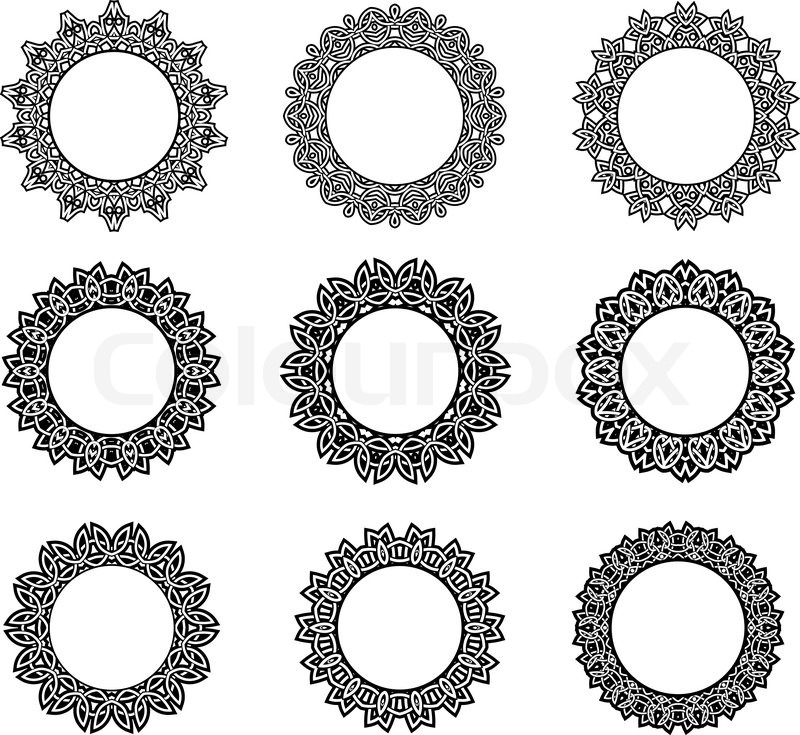 Stock vector of 'Round vintage frames in celtic style with intricate ...