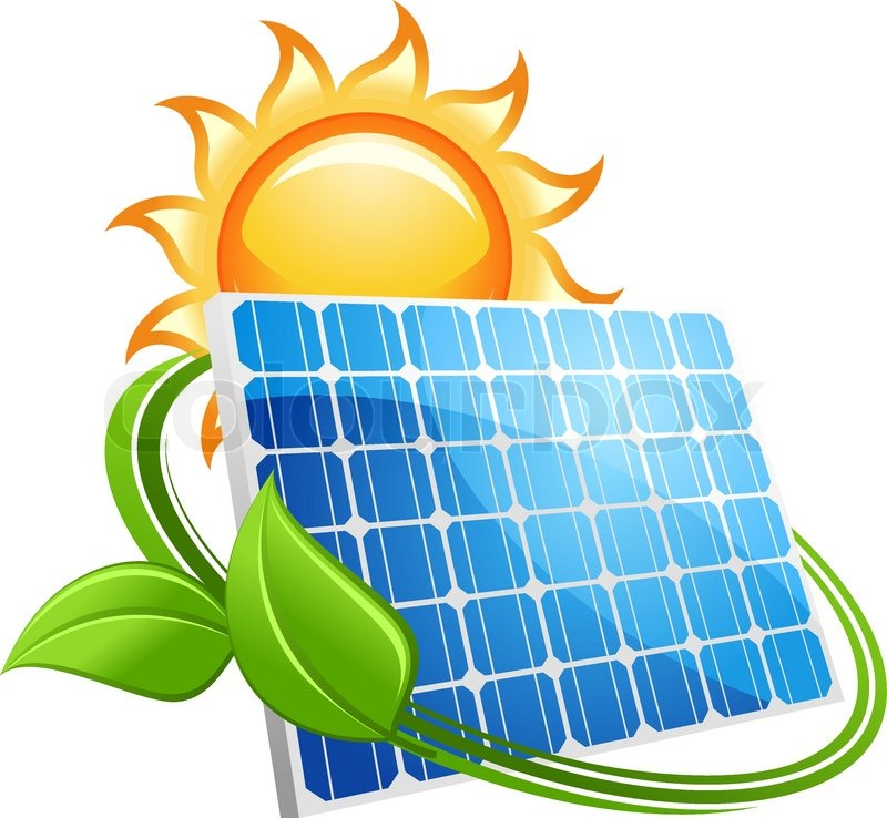 Solar Panel Icon With A Golden Hot Sun Above A