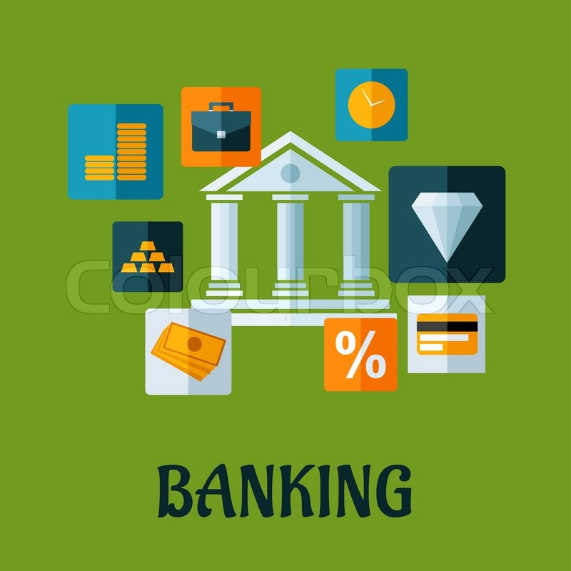 Banking Flat Design Or Infographic With A Central Bank
