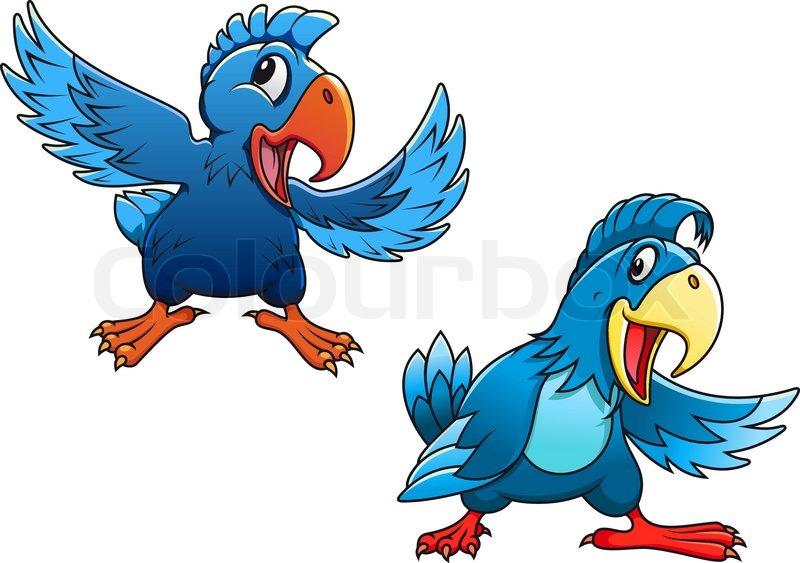 Cute Blue Cartoon Parrot Birds Stock Vector Colourbox