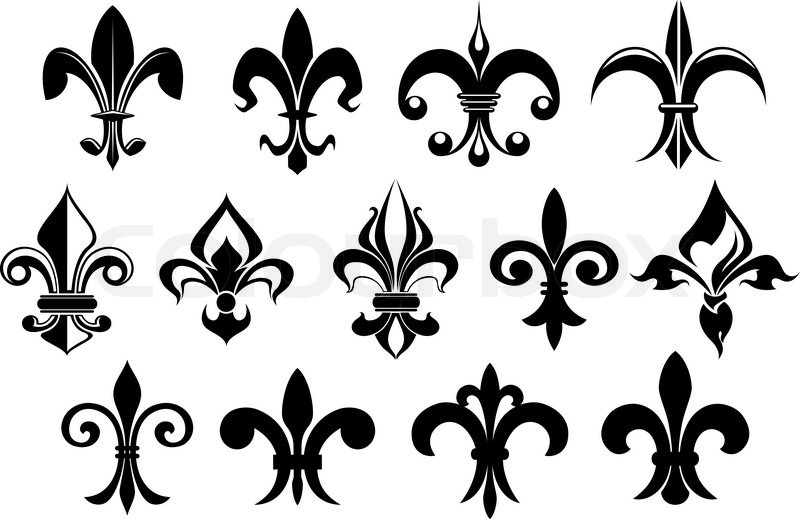 fleur de lys vintage design elements or icons in black and white suitable for heraldry and. Black Bedroom Furniture Sets. Home Design Ideas
