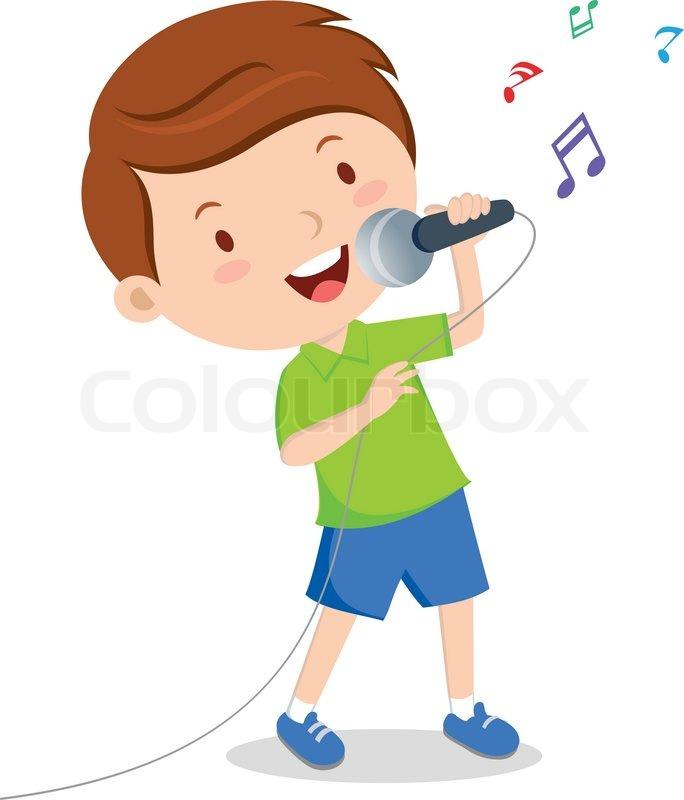 Little boy singing with microphone in ... | Stock Vector ...