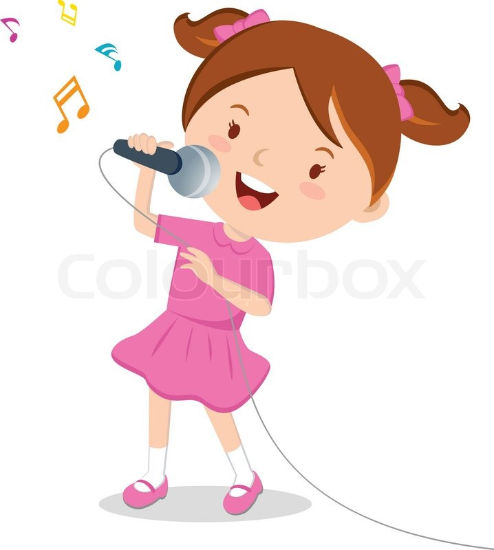 little girl singing with microphone in her hand stock vector rh colourbox com Cartoon Girl Dancing cartoon little girl singing
