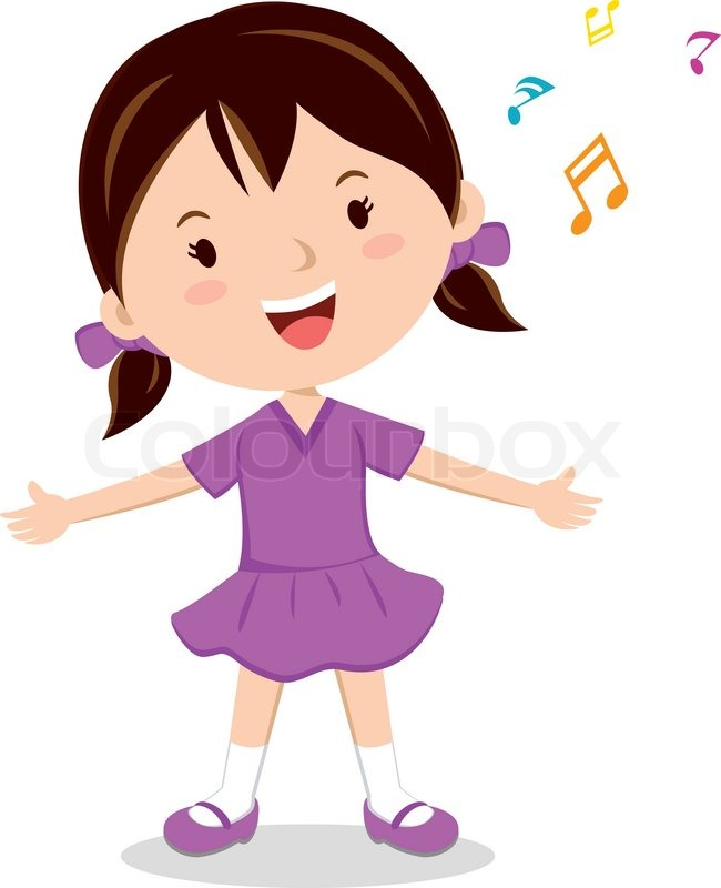 cheerful girl singing happily stock vector colourbox rh colourbox com cartoon picture girl singing Cute Cartoon Girl Singing