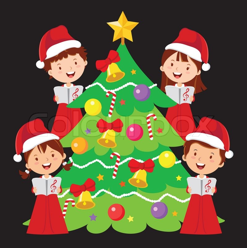 Children choir, Christmas caroling. | Stock Vector | Colourbox
