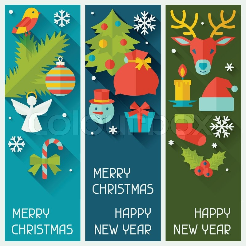 merry christmas and happy new year vertical banners stock vector colourbox