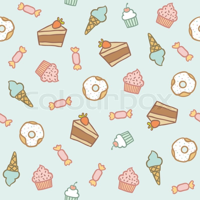 Icecreames Wallpaper On Tumblr: Sweet Pattern. Cakes, Cupcakes, Candies, Donuts, Ice Cream