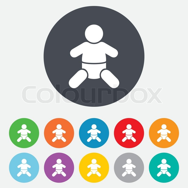 Baby Infant Sign Icon Toddler Boy With Diapers Symbol Child WC Toilet Round Colourful 11 Buttons Vector