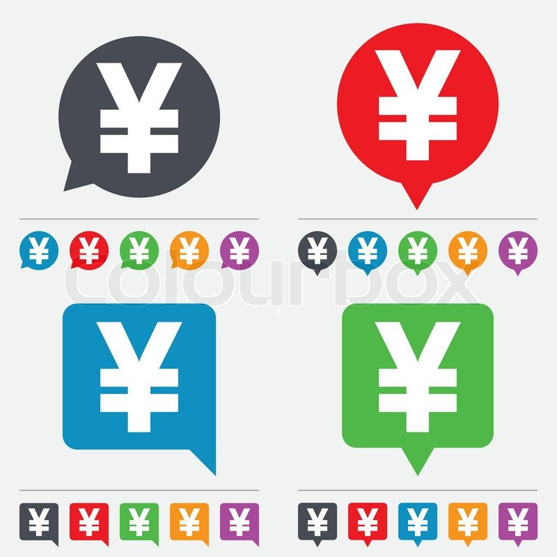 Yen Sign Icon Jpy Currency Symbol Money Label Speech Bubbles