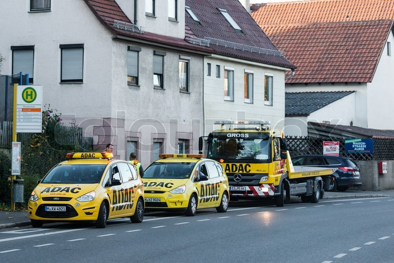 bernhausen germany november 08 2014 two maintenance cars and a tow truck of adac the german. Black Bedroom Furniture Sets. Home Design Ideas