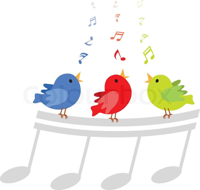 vector illustration of three little birds singing happily with rh colourbox com Music Notes Symbols Music Notes Graphics