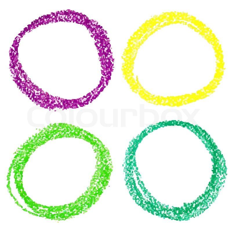 Crayon Colored Circle : Set of mardi gras circle spots pastel crayon isolated