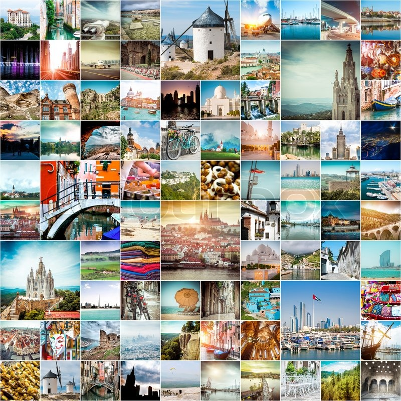 Collage Of Travel Photos From Different Cities The World