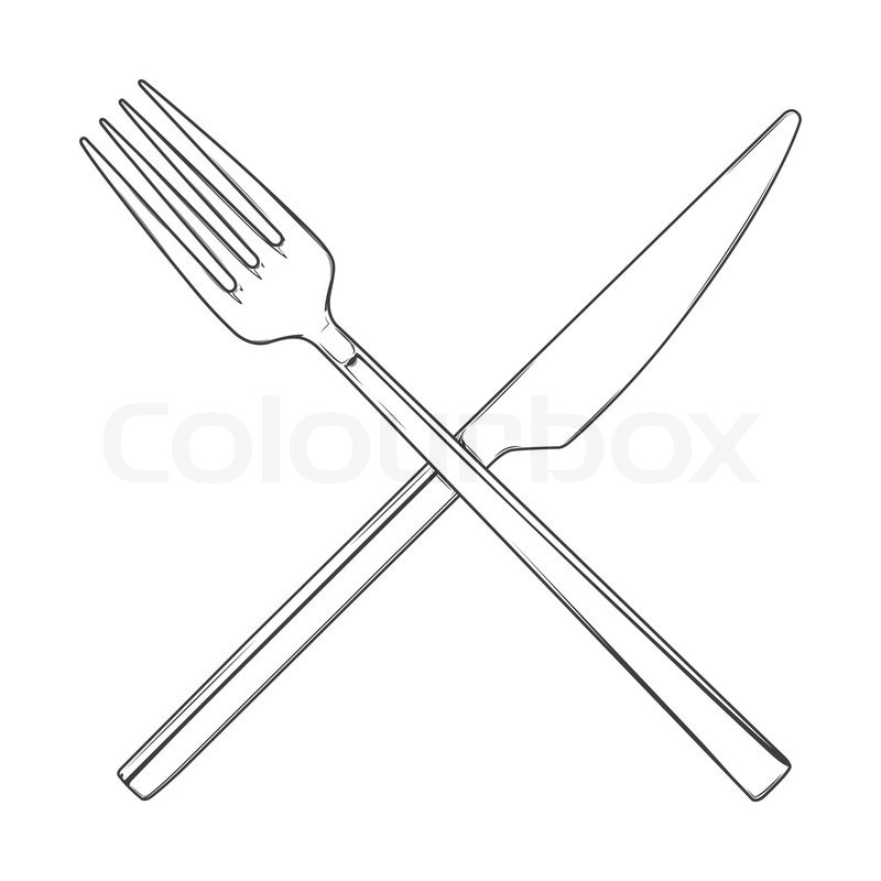 Line Art Knife : Crossed fork and knife isolated on a white background