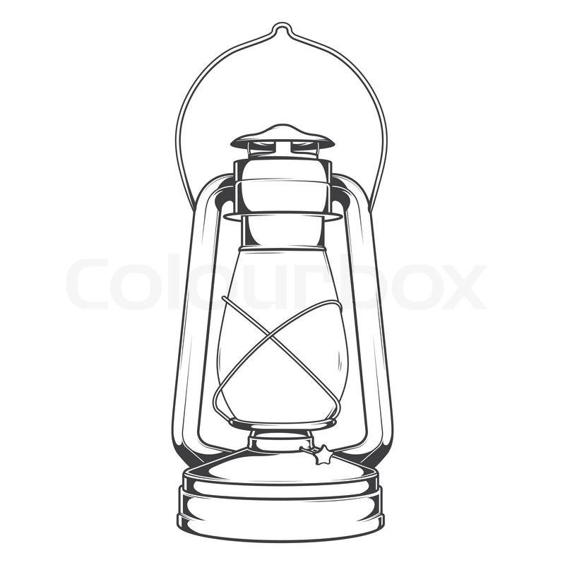 Antique Old Kerosene Lamp Isolated On A White Background Monochromatic Line Art Retro Design Vector Illustration