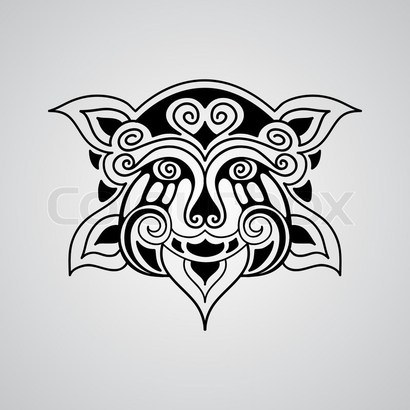 Lion Face Black And White Tattoo Stock Vector of 39 Vector Lion Face Tattoo Sketch Polynesian Tattoo Style 39