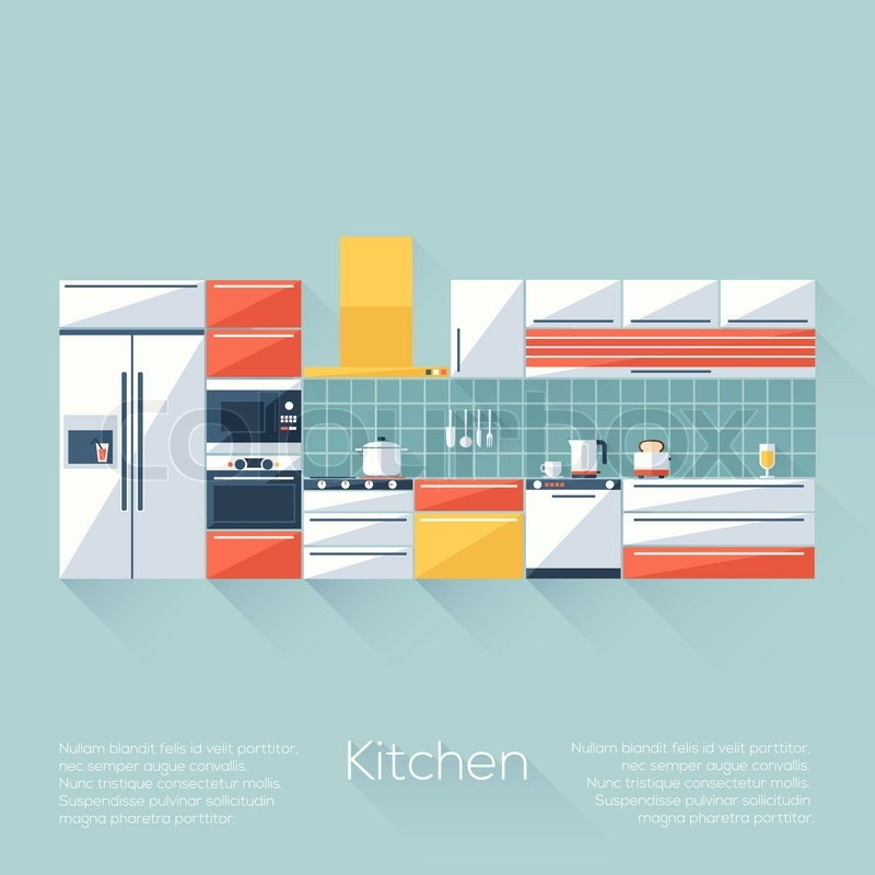 Kitchen Cover With Fridge, Stove, Dishwasher, Toaster And Microwave. Flat  Style With Long Shadows. Modern Trendy Design. Vector Illustration, Vector