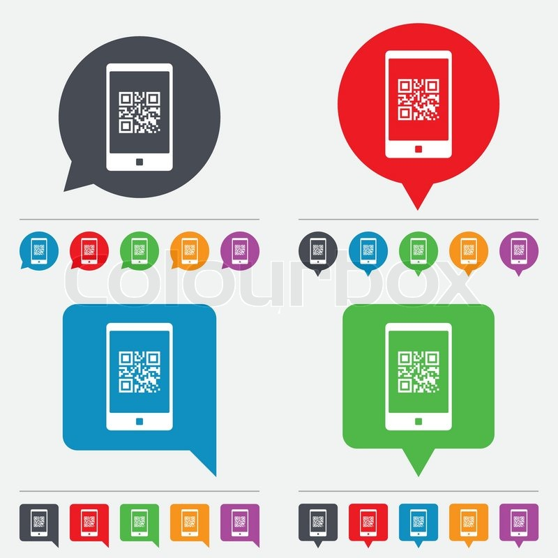 Qr code sign icon. Scan code in smartphone symbol. Coded word ...