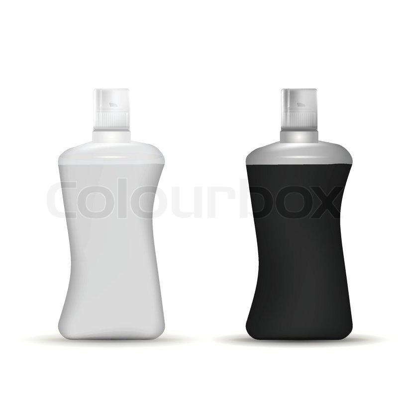 Gray and black plastic bottles for shampoo, foam or gel or ...