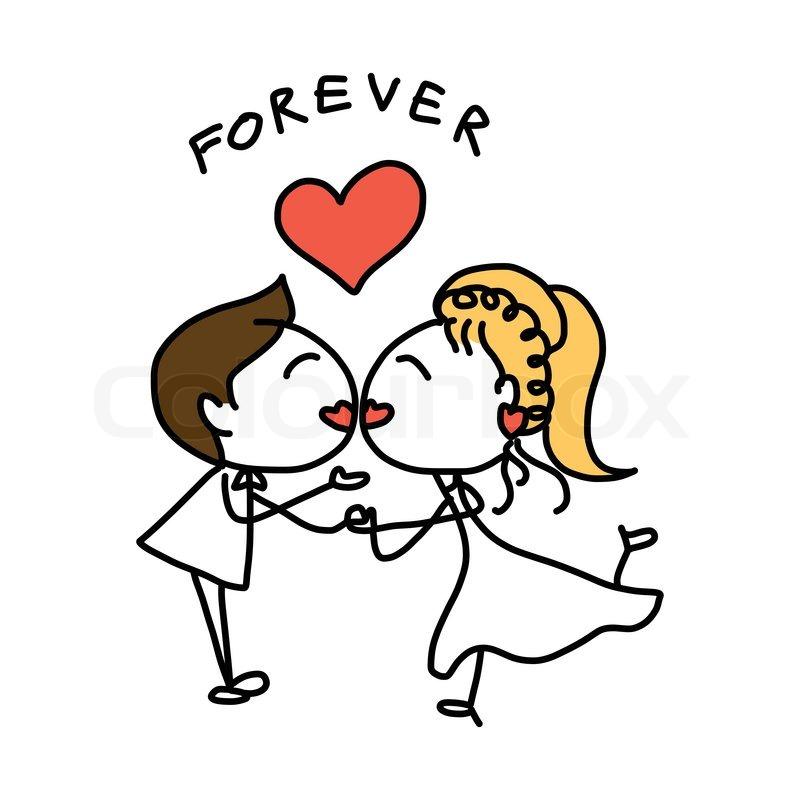 hand drawing cartoon abstract love and wedding stock vector