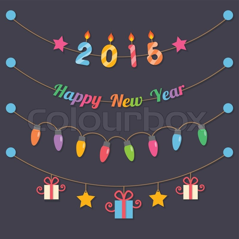 Fairy party bulbs, gift boxes, 2015 candle and happy new year sign ...