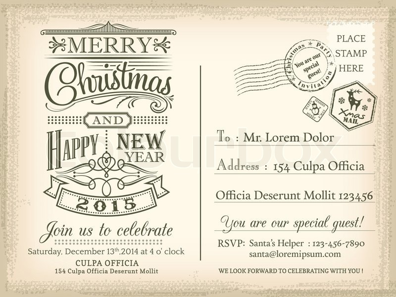 Vintage christmas and happy new year holiday postcard background vintage christmas and happy new year holiday postcard background vector for party invitation card stock vector colourbox stopboris Gallery