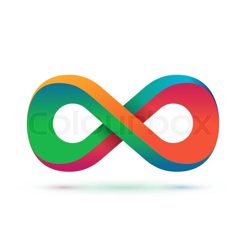 Colorful Infinity Symbol Conceptual Icon Logo Template Vector