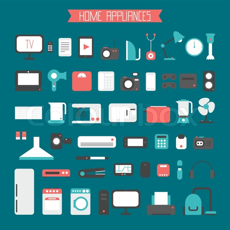Set of electronic devices and home appliances colorful icons in flat ...