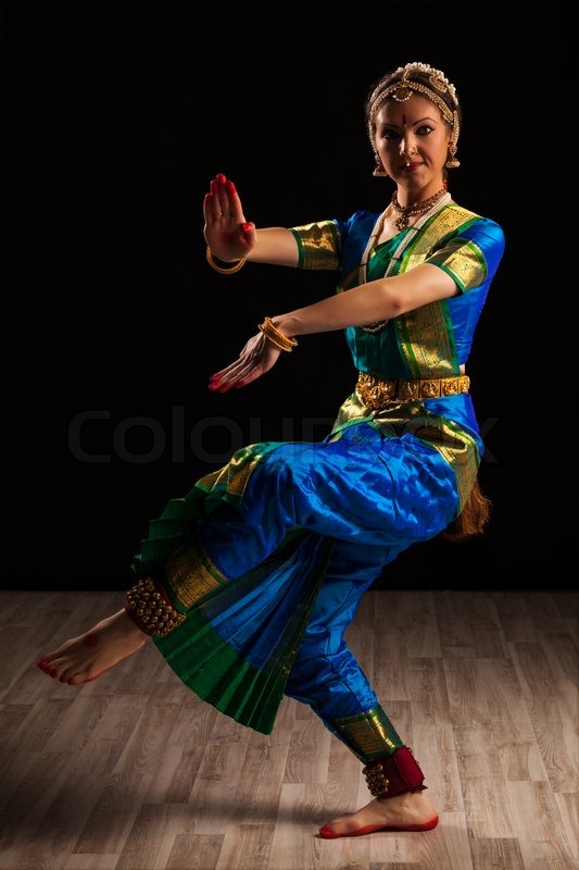 Young beautiful woman dancer exponent of Indian classical ...
