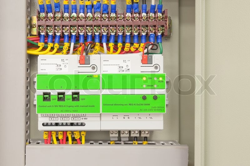 Electrical panel line, controls and switches, safety concept, stock photo
