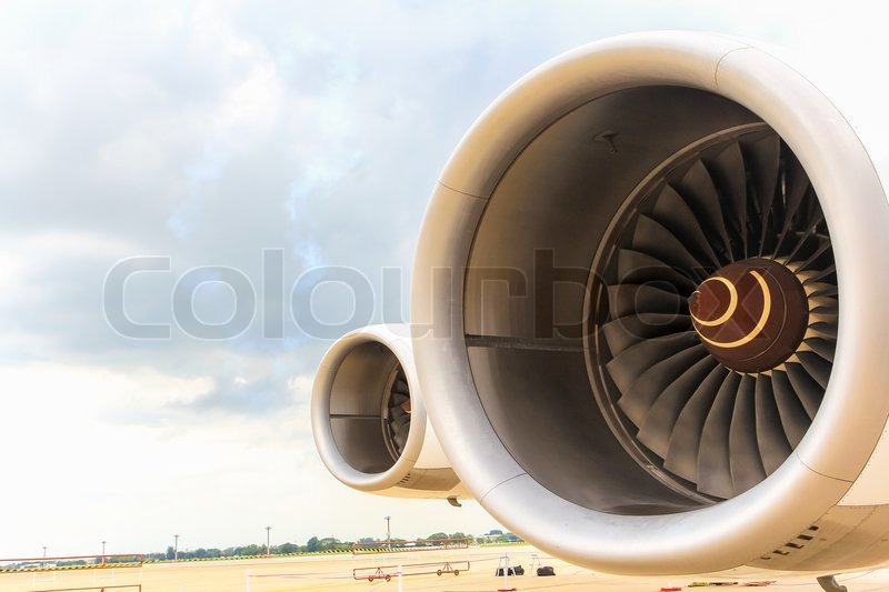 Turbine of airplane Wing and jet engine, stock photo