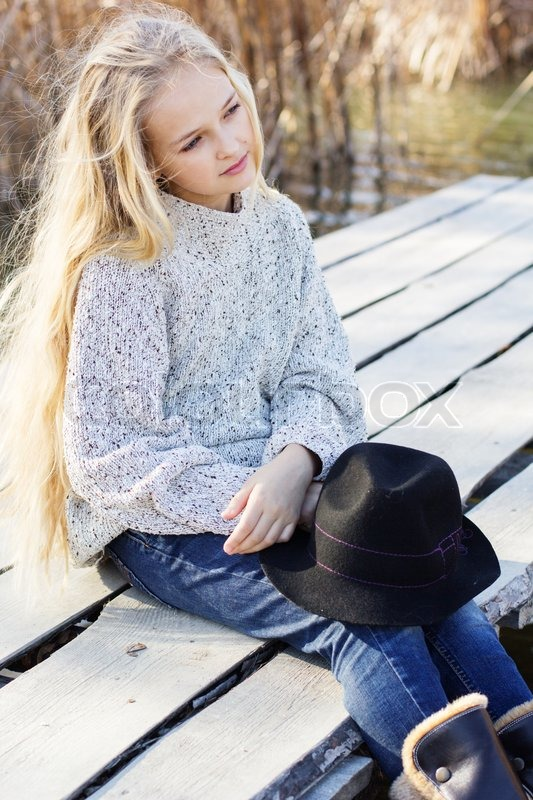 Little cute girl outdo... Sweater Weather Tumblr Girls
