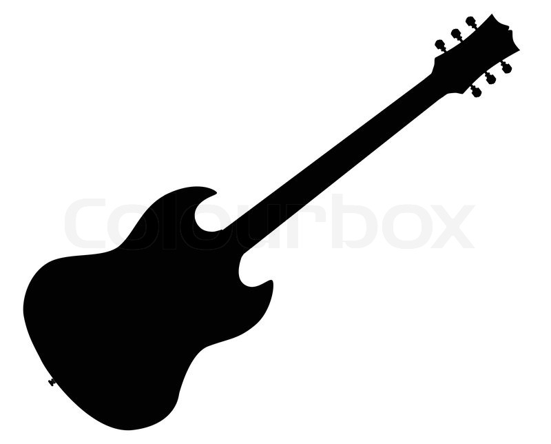 a solid body horned electric guitar silhouette set in a white