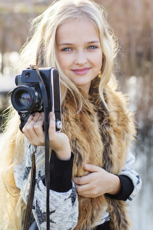 Little Cute Girl Photographer Outdoors   Stock Photo -3358