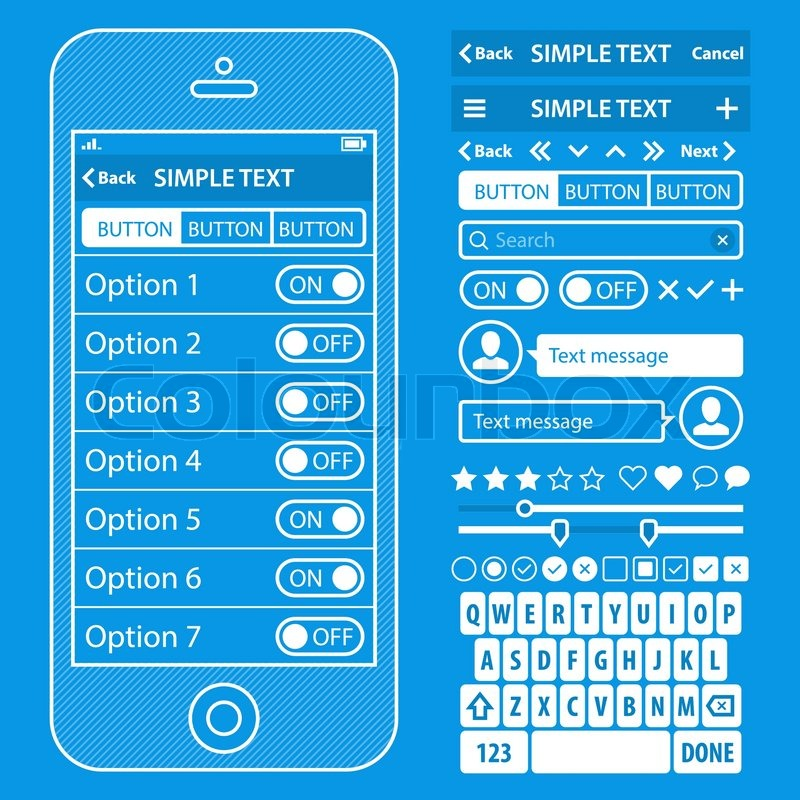 Ui elements blueprint design vector kit in trendy color with simple stock vector of ui elements blueprint design vector kit in trendy color with simple mobile malvernweather Images