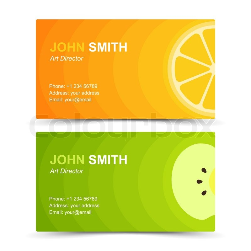 Business card set lemon apple. Vector illustration in eps10 | Stock ...