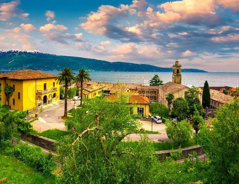 Italian lake houses with stunning view on Lake Garda, Gargnano, Lombardy, Italy, stock photo