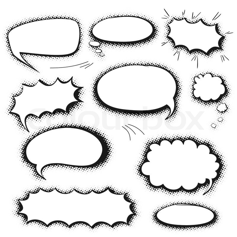 Stock vector of 'Set of empty graphic black and white comics speech ...